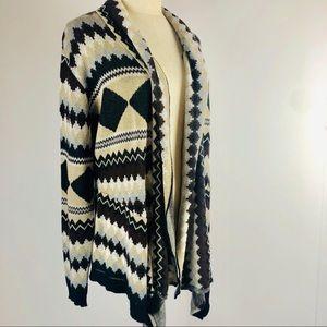 Tribal Print Draped Cardigan Sweater Size L